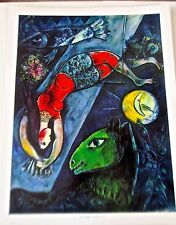 Marc Chagall THE BLUE CIRCUS Poster Horses Acrobats Offset Lithograph 14x11