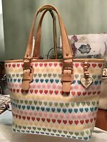 EUC Dooney Bourke Large Shopper Tote Florentine Vachetta Leather Hearts Rainbow