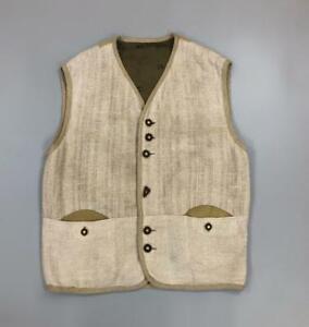 Men's Steinbock Tyrol Traditional Austrian Vest Linen Suede Trim Beige Size 54
