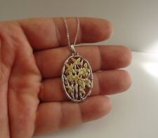OVAL FLOWER NECKLACE PENDANT W/ LAB DIAMONDS / 925 STERLING SILVER / 18'' CHAIN