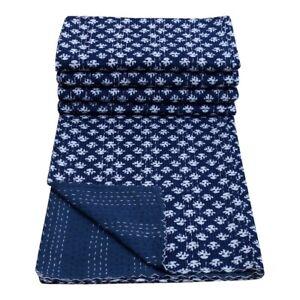 Blue Indigo Printed Kantha Indian Quilt Bedspread Running Blanket Cotton Throw