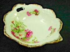 Vintage Floral China Bowl in Beautiful & Unique Leaf Shape - Gold Edged Six Inch