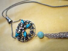 Long flapper style necklace with blue tones, Lucite and agate bead
