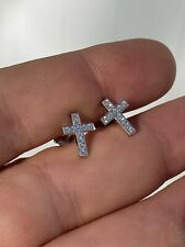 Real 925 Sterling Silver Men Ladies Cross Earrings Screw-back Studs Iced Diamond