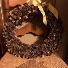 "Salzburg Creations Pine Cone Wreath Gold Metallic Bow 17"""