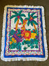 ~Vintage Baby Crib Blanket Comforter Ruffle Jungle Animals Lion Monkey Safari