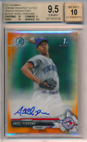 2017 1st Bowman Chrome Orange Refractor /25 Angel Perdomo BGS 9.5 10 Auto POP 4