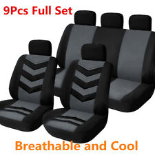 9Pcs/Set Black&Grey Sports Breathable Auto Car Front & Rear Seat Cover Protector