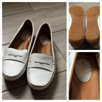 Clarks Artisan White Leather Flat Loafer Moccasin Shoes Casual UK 7 EU 41