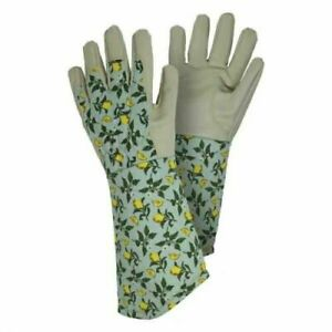 Briers Ladies Sicilian Lemon Leather Gauntlet Long Sleeve Gardening Gloves (M)