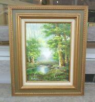 Richard Schiller Spring Woodland Landscape Creek Stream Signed Oil On Canvas