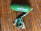 vtg+SEWING+KIT+Brass+THIMBLE+Germany+metal+GREEN+Capsule+holder+case+1940s