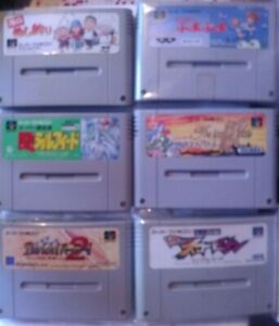 NINTENDO SUPER FAMICOM GAMES. 6 Games. Please see pictures for titles