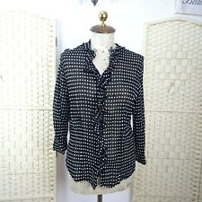 VINTAGE black polkadot shirt ruffle top ladies viscose  boho blouse S/M T396