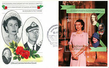 St VINCENT GRENADINES 1987 QUEEN 40th WEDDING ANNIVERSARY $6 M/S FIRST DAY COVER