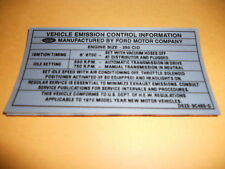 1970 1/2 FORD FALCON 250 6 CYLINDER EMISSIONS DECAL