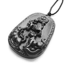 Lucky Tiger Horse Dog Money Taiji 8-Diagram Black Green Jade Amulet Pendant