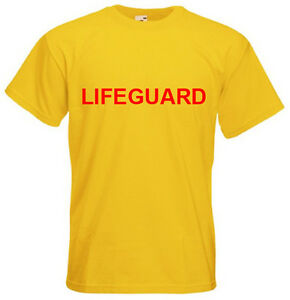 LIFEGUARD T-Shirt Ideal for Fancy Dress, Hen, Stag night, Baywatch Red Yellow