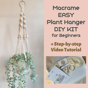 EASY Macrame Plant Hanger DIY KIT for beginners with Video Tutorial Craft gifts