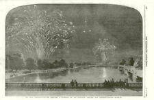 Crimean War Peace Commemoration. Hyde Park & Green Park fireworks. London 1856