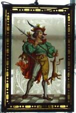 Antique Painting German Hunter with Sword and Spear Leaded glass 19th century