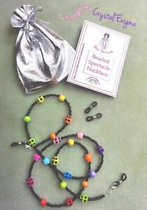 Beaded Glasses Chain Necklace Lanyard ID Skulls Roses Rainbow Day Of The Dead