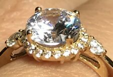 14K Solid real Gold ring yellow Round manmade Diamond Engagement 7 5 6 8 9