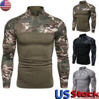 US Men's Camouflage Print Sweatshirt Tops Casual Slim Fit T-Shirt Fitness Blouse