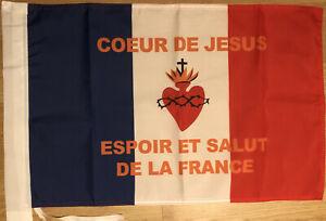 Drapeau catholique royaliste vendéen Fleur de Lys roi Sacré Coeur Christ Roi