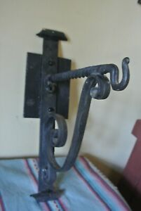 WROUGHT IRON WALL SCONCE LAMP LIGHT HANGER LARGE 16X11 ANTIQUE
