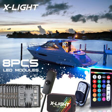 8pc RGB 18 Full Color LED Boat Deck & Cabin Marine Gunnel Light Kit Music Active