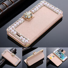Bling Diamond Pearl Magnetic Leather Wallet Flip Case Cover For iPhone Samsung