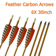 """6X 30"""" Wood Carbon Arrows Sp600 Feather Field Point Archery Target Practise"""