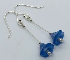Sterling Silver Earrings ~ Vintage Czech Flower Glass Beads Freshwater Pearls