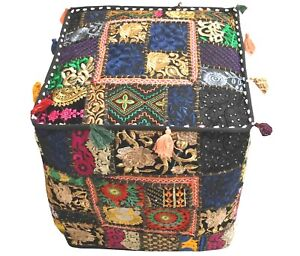 Indien Square Pouf Cover Vintage Ottoman Patchwork Footstool Embroidered Pouffe