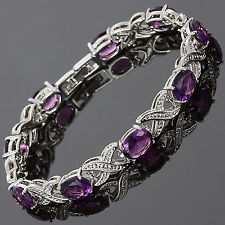 XOXO Style Oval Purple Amethyst CZ Tennis Bracelet in 18K White Gold Plated 7""