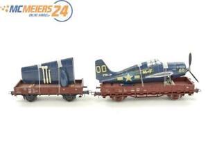E327 Roco H0 2x Güterwagen Rungenwagen Niederbordwagen mit Flugzeugteilen DB