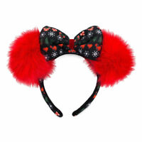 Disney Parks Minnie Mouse Bow with Fluffy Pom-Pom Ears Holiday Headband NWT