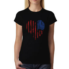 Corazón Americano Stati Uniti d'America Donna T-Shirt XS-3XL