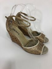 Prada Snakeskin Woven Wedge Sandals in Natural Size 36