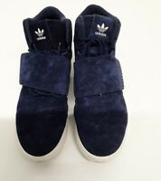Adidas Tubular Invader Strap Mens Suede Trainers High Top UK Size 10 Blue