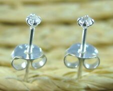 100% REAL925 sterling silver 2 + 3mm Round CZ studs earring BUY 4 SET GET 1 FREE