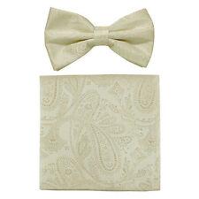 New formal men's pre tied Bow tie & hankie set paisley pattern ivory wedding