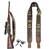 "Cotton Wolven Rifle Sling, Leather Ends Gun Shoulder Straps with 1"" Wood Screws"