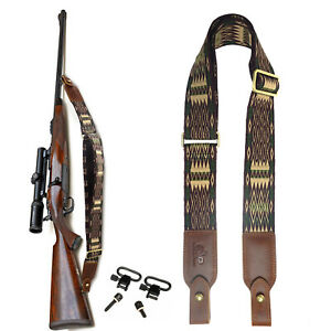 "Cotton Wolven Rifle Sling, Leather Ends Gun Shoulder Straps For 1"" Wood Screws"