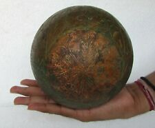 Vintage Old Handcrafted Decorative Brass Engraved Wooden Ball, Collectible