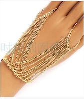 Fashion Unique Gold Bracelet Bangle Slave Chain Link Finger Ring Hand Harness