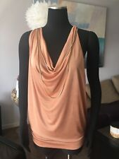 AUTH JEAN PAUL GAULTIER FOR TARGET ROSE GOLD CHAIN/NECKLACE TOP BLOUSE Sz S