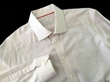 Eton of Sweden Luxury Shirt Contemporary Fit Gray Orange White Check Size 41 16