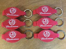 Budweiser Bottle Opener Key Ring Red - Plastic - 6 Pack - Made in America - F/S